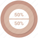 fifty, graphic, half, info icon