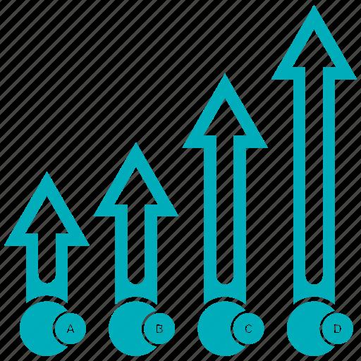 Increase, analytics, bar, chart icon
