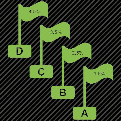 analytics, chart, flag, growth bar, infographic, rising, statistics icon