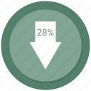 arrow, down, twenty eight icon