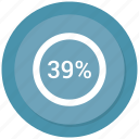 percent, rate, revenue, thirty nine icon