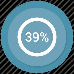 percent, rate, revenue, thirty nine icon