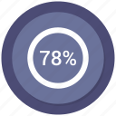chart, percentage, pie, seventy eight icon