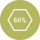 percent, rate, revenue, sixty six icon