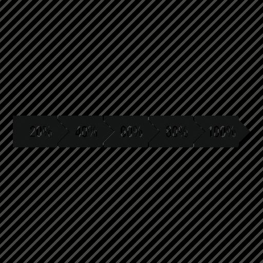 arrow, bar, font, level, percentage, statistic, web icon