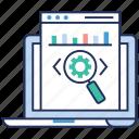 data analytics, finding code, statistics, web code search, web development icon