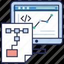 data analytics, data infographic, online analytics, web coding, web coding report, web improvement icon