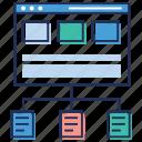 data analytics, data sharing, online storing data, web data server, web services icon