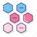 alternating, diagram, hexagons icon