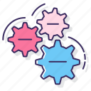 cogs, gears, machine icon