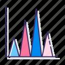 bar, graph, triangle icon