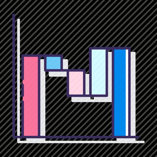 chart, graph, waterfall icon