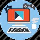 computer, diagram, infographic, technology icon icon