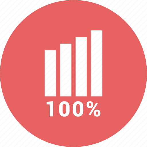 bars, data, full, growth, hundred, one, percent icon