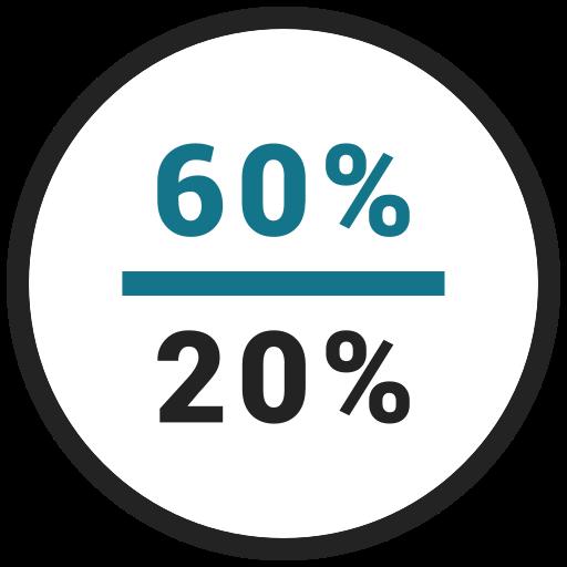 percent, rate, sixty, twenty icon