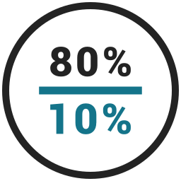 eighty, percent, rate, ten icon