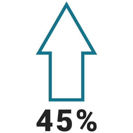 forty five, graphic, info, ninty, percent icon