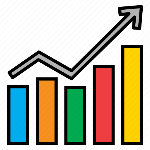 analytics, arrow, bars, chart, graph, infographic, sales icon