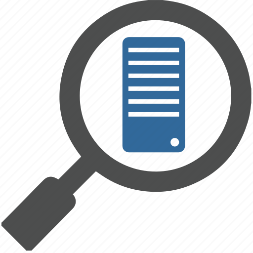 base, computer, data, loup, network, server, shearch icon