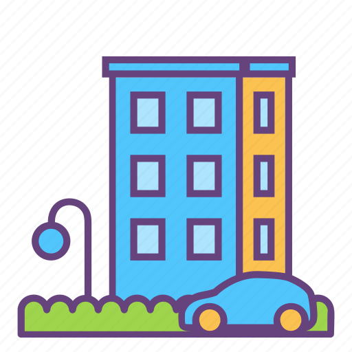 car, city, house icon