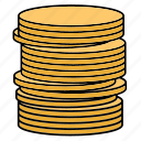 coins, gold, sign, yellow icon