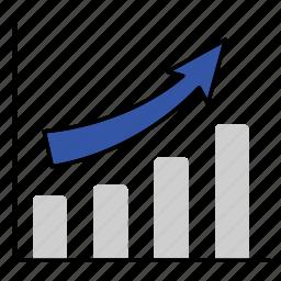 arrow, bar, graph, increment, manhattan, upward icon