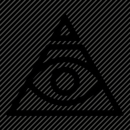 all seing eye, brand, ink, mark, secret society, tattoo, triangle icon