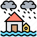 flood, home, house, insurance, storm icon