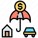 car, home, insurance, money, property icon