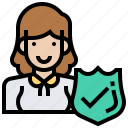 customer, female, insurance, protect, woman icon