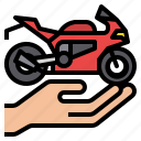 insurance, motorcycle, transport, vehicle icon