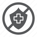 crossed, health, life, protection, shield, uninsured icon