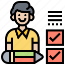 assessor, checklist, evaluate, inspection, report icon
