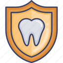dental, insurance, protection, security, shield, teeth, tooth icon