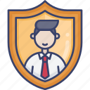 account, insurance, profile, protection, security, shield, user