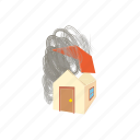 broken, cartoon, collapse, flying, house, hurricane, wind icon