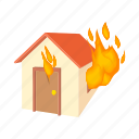 cartoon, extinguish, fire, home, house, illuminate, panic icon
