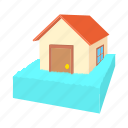 cartoon, flooded, flooding, house, panic, swims, water icon