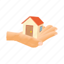 cartoon, estate, hand, holding, home, house, residential icon
