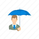 cartoon, face, guy, man, suit, tie, umbrella icon
