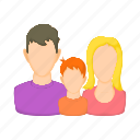 avatars, boy, cartoon, child, family, father, mother icon