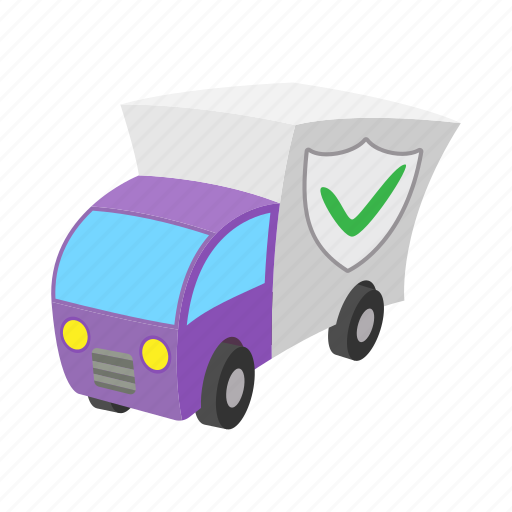 car, cartoon, concept, insurance, safety, security, shield icon