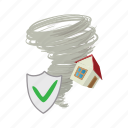 cartoon, home, house, hurricane, insurance, property, storm icon