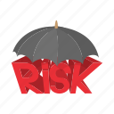 cartoon, concept, insurance, protection, risk, safety, umbrella icon
