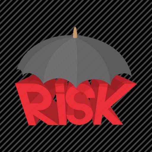 cartoon, concept, insurance, protection, risk, safety, umbrella icon