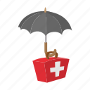 umbrella, cartoon, protection, aid, kit, insurance, first