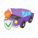 car, cartoon, concept, fire, insurance, safety, shield icon