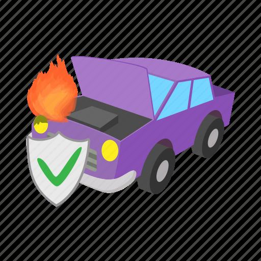 car, cartoon, concept, fire, insurance, safety, shield icon