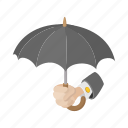 cartoon, concept, hand, insurance, protection, safety, umbrella icon