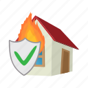 cartoon, fire, home, house, insurance, property, protection icon